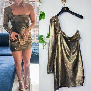 $645 BAJA EAST One Shoulder Gold Party Mini Dress